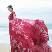 MM160 New Arrival women beach vintage belted long sleeve maxi red floral print dress summer 2017