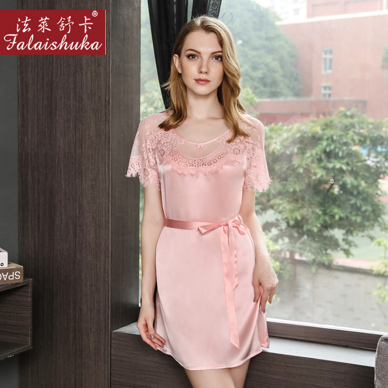 Women Silk Stain Lace   Nightgown     Sleepshirts   2019 Woman 100% silk Sexy Summer Sleepwear Homewear Night Wear Sleeping Black Dress
