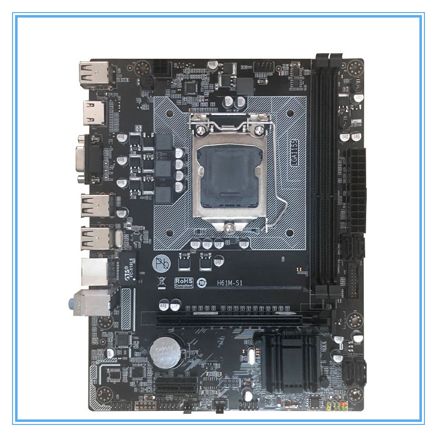 New Desktop Motherboard H61M-S1 LGA 1155 DDR3  i3 i5 i7 All-Solid Micro-ATX motherboards mainboardNew Desktop Motherboard H61M-S1 LGA 1155 DDR3  i3 i5 i7 All-Solid Micro-ATX motherboards mainboard