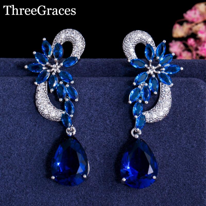 80a69eb82 ThreeGraces Elegant Royal Blue Stone Earring Cubic Zirconia Crystal Long  Bridal Teardrop Earrings For Wedding Jewelry ER005-in Drop Earrings from  Jewelry ...