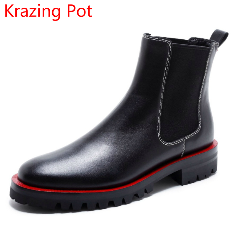 2018 Genuine Leather Fashion Winter Shoes Mixed Colors Women Ankle Boots Slip on Med Heels Punk Style Runway Chelsea Boots L91 фильтр для воды новая вода expert osmos mo520