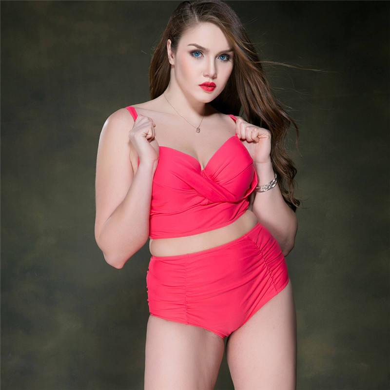 ФОТО 2017 Plus Size Bikini Set Swimwear Women High Waist Sexy Swimsuit Push Up Mesh Bikini Bathing Suit Women Black Bikini Badpak