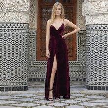 Sexy V-ausschnitt Burgundry Samt Abendkleid Lange Spaghetti-trägern Backless Party Kleider Side Split Geschnitten Criss Cross Marokkanischen
