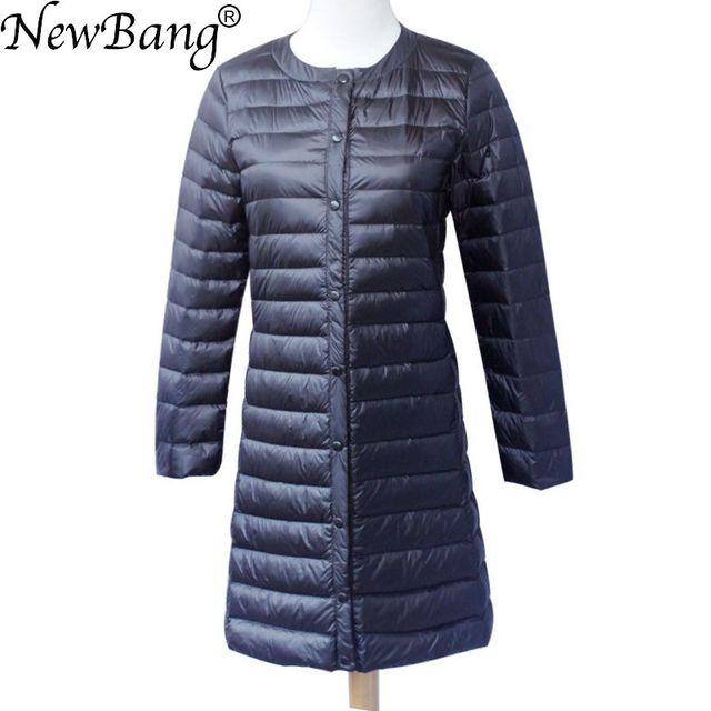 NewBang ブランドダウンジャケット女性ロングダックダウンジャケット女性軽量暖かい Linner スリムポータブルシングルブレストコート