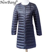 Newbang marca para baixo jaqueta feminina longo pato para baixo jaqueta feminina leve quente linner fino portátil único breasted casaco