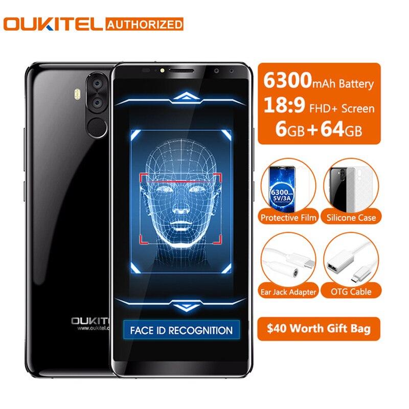 Oukitel K6 18:9 6.0 ''Display Viso ID 6 GB di RAM 64 GB ROM MTK6763 Octa Core 6300 mAh trasporto Veloce carica di Impronte Digitali 16MP 4 Camme Cellulare