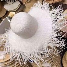 2019 nuovo della Spiaggia Delle Donne del Cappello Del Sole di Estate Del Cappello A Tesa Larga Cappello di Paglia con Frange Kentucky Derby Copricapi Floppy Grande Bordo cappello Della Protezione Delle Signore