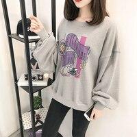 2017 herbst Frauen Harajuku Lose Druck T-shirt Extra Lange Fledermaus Ärmel Sweatshirt Kawaii Pullover Koreanische Japanischen Lässig Tops Exo