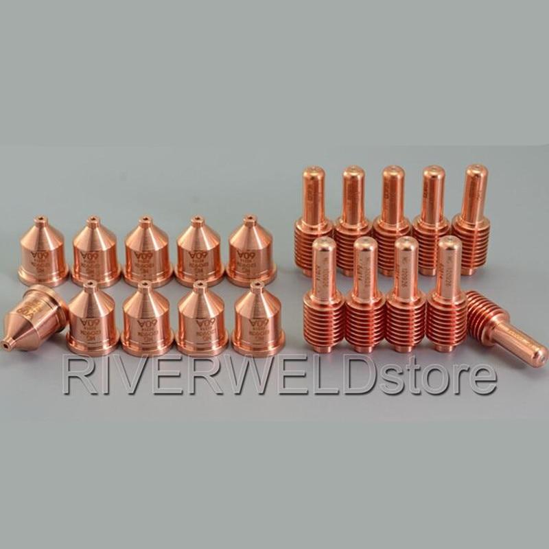 120926 Electrodes 40A-80A & 120931 Nozzles Tips 60Amp For Plasma Cutter Consumables ,20pcs/set p80 panasonic air plasma cutter torch consumables plasma tips nozzles 60 80 100amp plasma electrodes 60pk