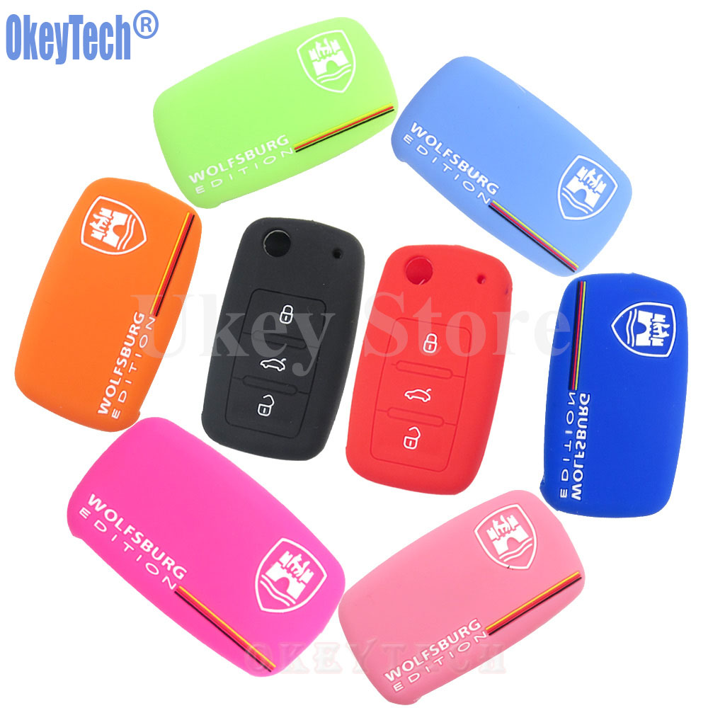 OkeyTech Silicone Key Holder 3 Buttons for VW VOLKSWAGEN Wolfsburg Edition Flip Remote Key Protector Cover Case Free Shipping