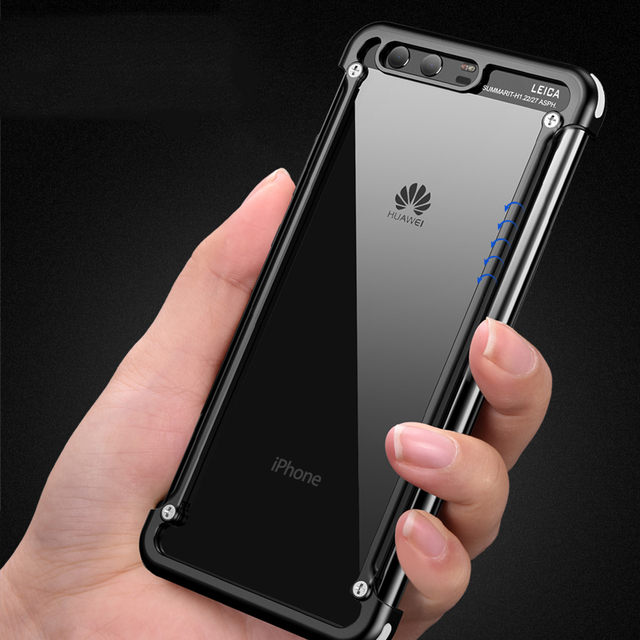 newest 54caf 8ec6c US $15.99  OATSBASF Airbag Metal Case For Huawei P10 and Huawei P10 Plus  Pro Case Personality Shell Metal Bumper cover with Gift Glass Film-in Phone  ...