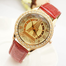 купить Hot Luxury Women Rhinestone Crystal Tower Watch Fashion Leather Strap Female Quartz Wrist Watch Casual Diamond Lady Dress Clock по цене 174.09 рублей