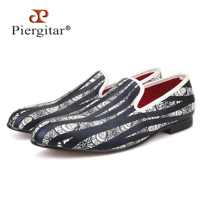 Piergitar new style Handmade men loafers with Hand painted geometric pattern Fashion Party and Prom men slip-on dress shoes fashion rabbit and grass pattern 10cm width wacky tie for men