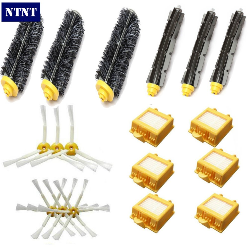 NTNT HEPA Filter+Side Brush Kit+Bristle and Flexible Beater Brush suitable For iRobot Roomba 700 Series 770 780 790 Accessory hepa filter side brush kit bristle and flexible beater brush suitable for irobot roomba vacuum parts 700 760 770 780 series
