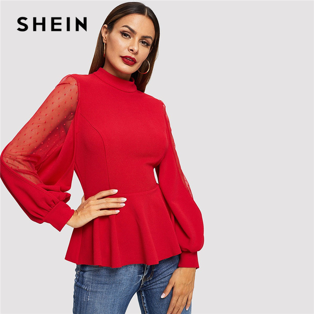 ccb2073e57 US $17.0 40% OFF|SHEIN Office Lady Red Dot Mesh Insert Balloon Sleeve  Peplum Top Stand Collar Blouse Women Autumn 2019 Plain Tops and Blouses-in  ...