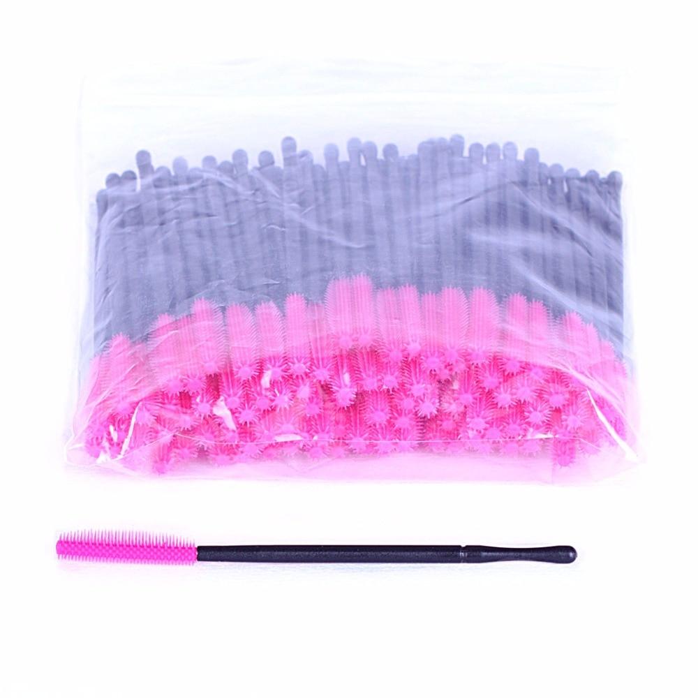 300 pcs 3 colors Silicone Eyelash Brush Rosered Yellow Purple Brushes for Lash Extension Applying Professional Makeup Brush