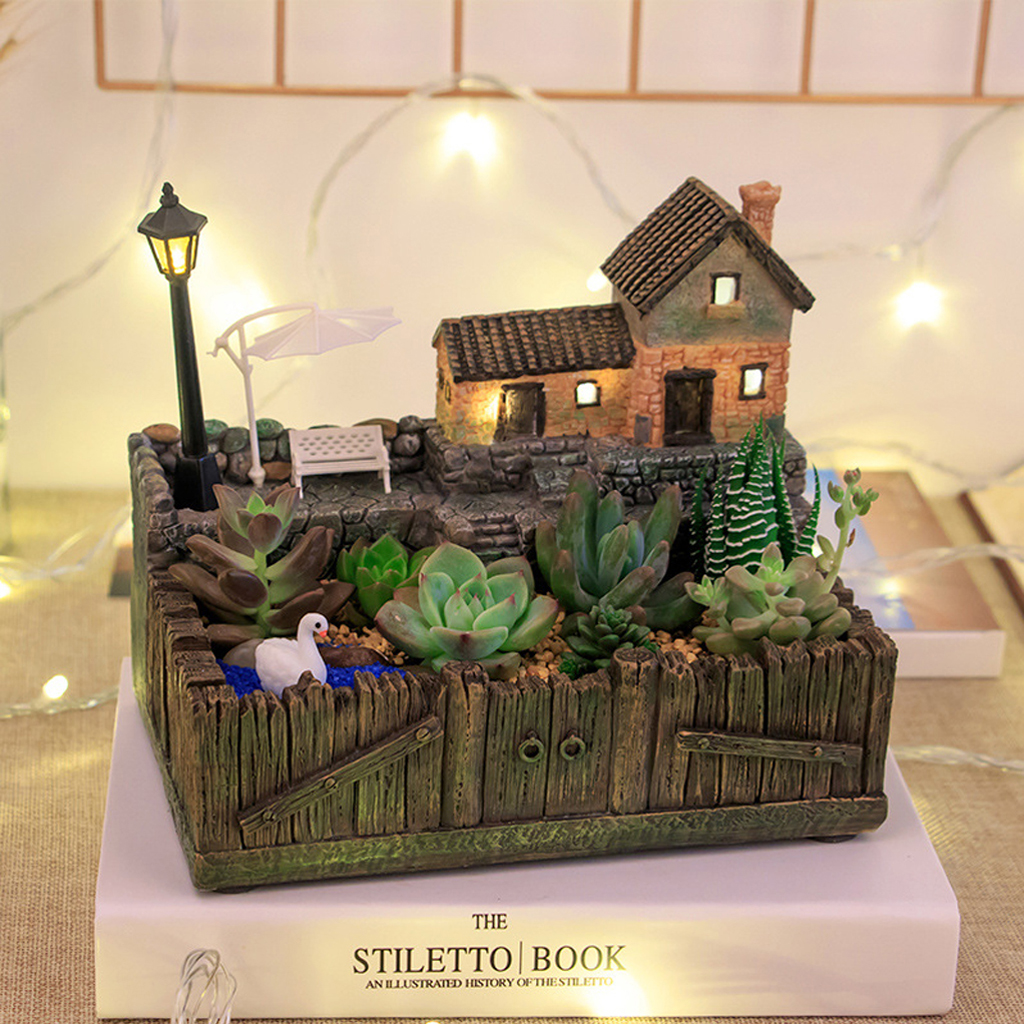 Resin Tuscany Hut Flower Bed Succulent Pot Planter Bonsai Plant Bed Flower Pots Storage Box For Office Home Shopping Mart Decor