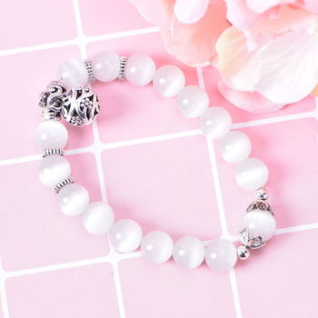 Body Slimming Weight Loss Anti-Fatigue Healing Bracelet White Cat Eye Bead Stretch Bracelet Magnetic Therapy Bead Slim For Women stylish square fake turquoise bead bracelet for women