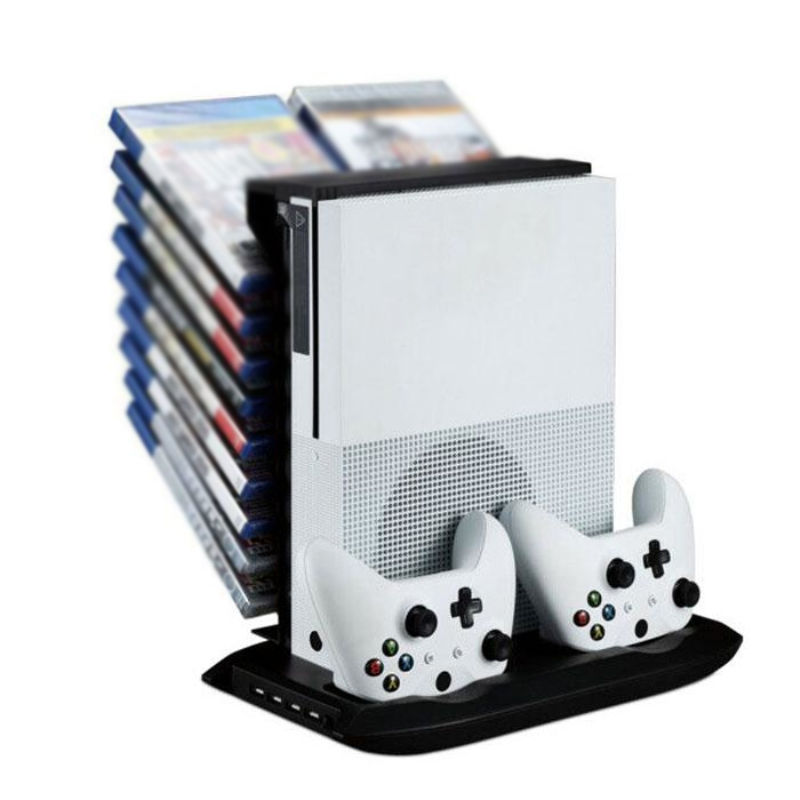 Multifunctional Disk Storage Tower with 2 Controller Charging Dock and Console Cooling Fan Cooler for Xbox One Slim Xboxone S