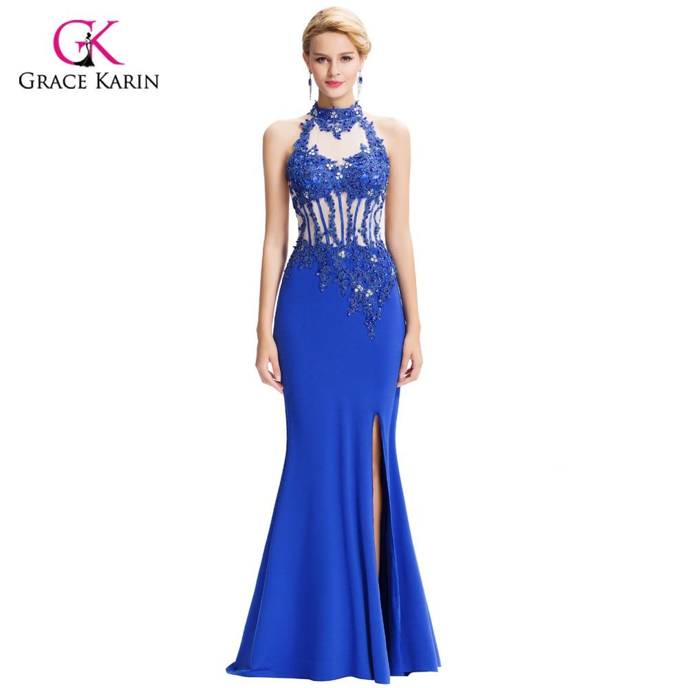 Grace Karin Blue Evening Dress 2018 Slit Mermaid Formal Evening ...