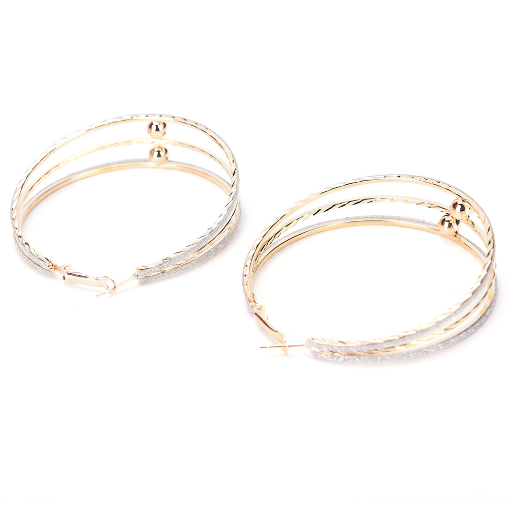 1pair Golden Sliver Color Twisted Hoop Round Big Earrings Goldcolor  Carving Ear Studs For