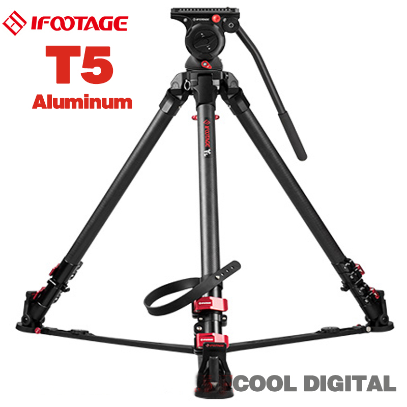 IFOOTAGE Wild Bull T5 Aluminum Legs Professional Tripod Stand with IFOOTAGE KOMODO K5 Fluid Head for GH5 5D A7S DSLR Camera Rig xiletu xmv 30 aluminum professional tripod for camera stand dslr video tripods fluid head damping