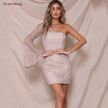 цена на Trancilong Sweet Plain Shoulder Lace Openwork Mini Dress Female Stitching Gold Sequins Bell Sleeves Hip Dress