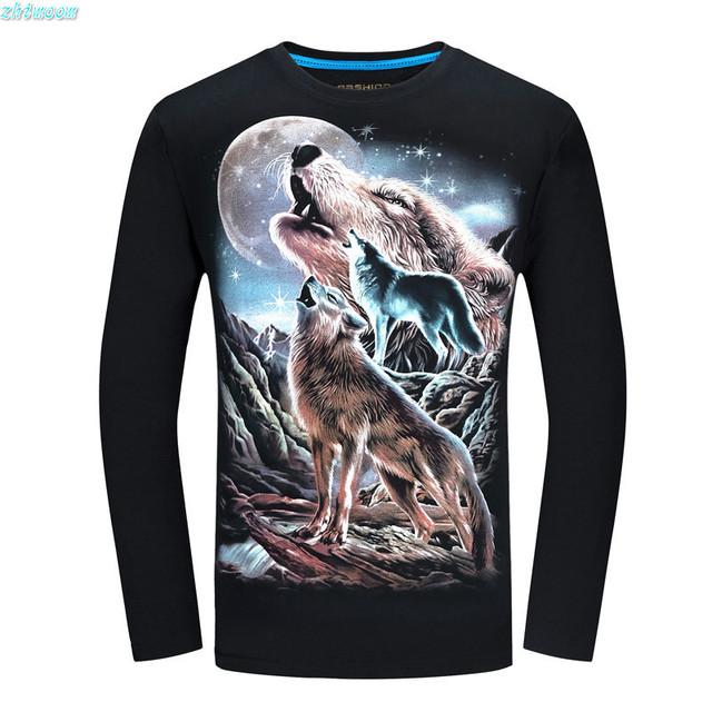 2017 Primavera T-shirt De Boy Ropa de Manga Larga Camiseta de Los Hombres de Algodón Negro Impreso Lobo Camisetas y Tops 16 18 años de edad