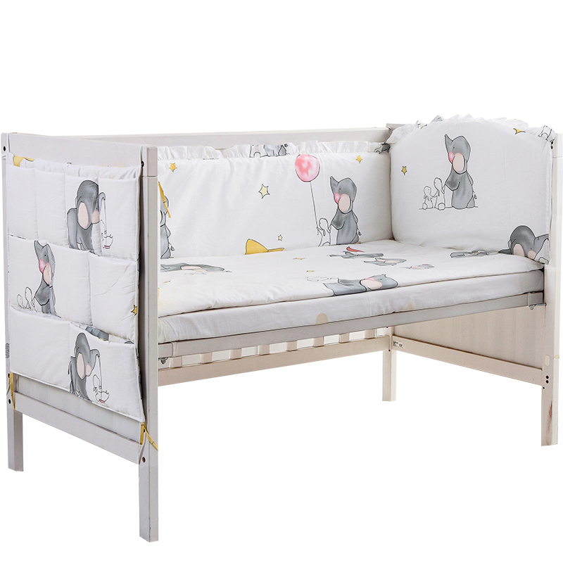 5pcs Cotton Crib Bed Linen Kit Cartoon Crib Bedding Set Baby Bedding Set Baby Bed,(4bumpers+sheet) Outstanding Features