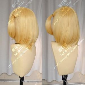 Image 4 - Haikyuu!! Hitoka Yachi Hitokav Short Blonde Braid Heat Resistant Ponytail Hair Cosplay Costume Wig + Free Wig Cap