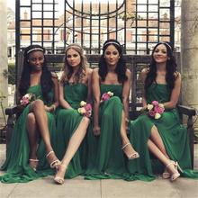 2017 Green Long Chiffon Bridesmaid Dress Strapless Side Slit A Line Off The Shoulder Floor-Length Robe Demoiselle Honneur
