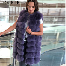 TOPFUR 2018 New 90cm Long Real Fox Fur Vest For Women Autumn And Winter Natural Jacket Luxury Fashion Gilet