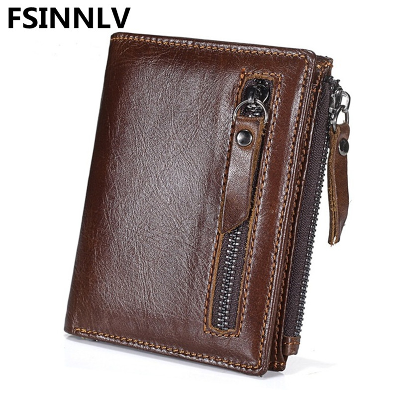 FSINNLV New Genuine Leather Short Men Wallet Clutch Double Zipper Coin Purse Vintage Bifold Male Wallet Card Holder Wallet HB83 mens wallets black cowhide real genuine leather wallet bifold clutch coin short purse pouch id card dollar holder for gift