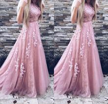 Длинное платье для выпускного вечера кружевное А силуэта без