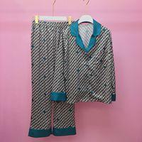 Women Pajamas Sleepwear Two Piece Set Applique Cami Top+Pant Set Silk Major Suit The Sun FLOWER Print High end Long Sleeve Home
