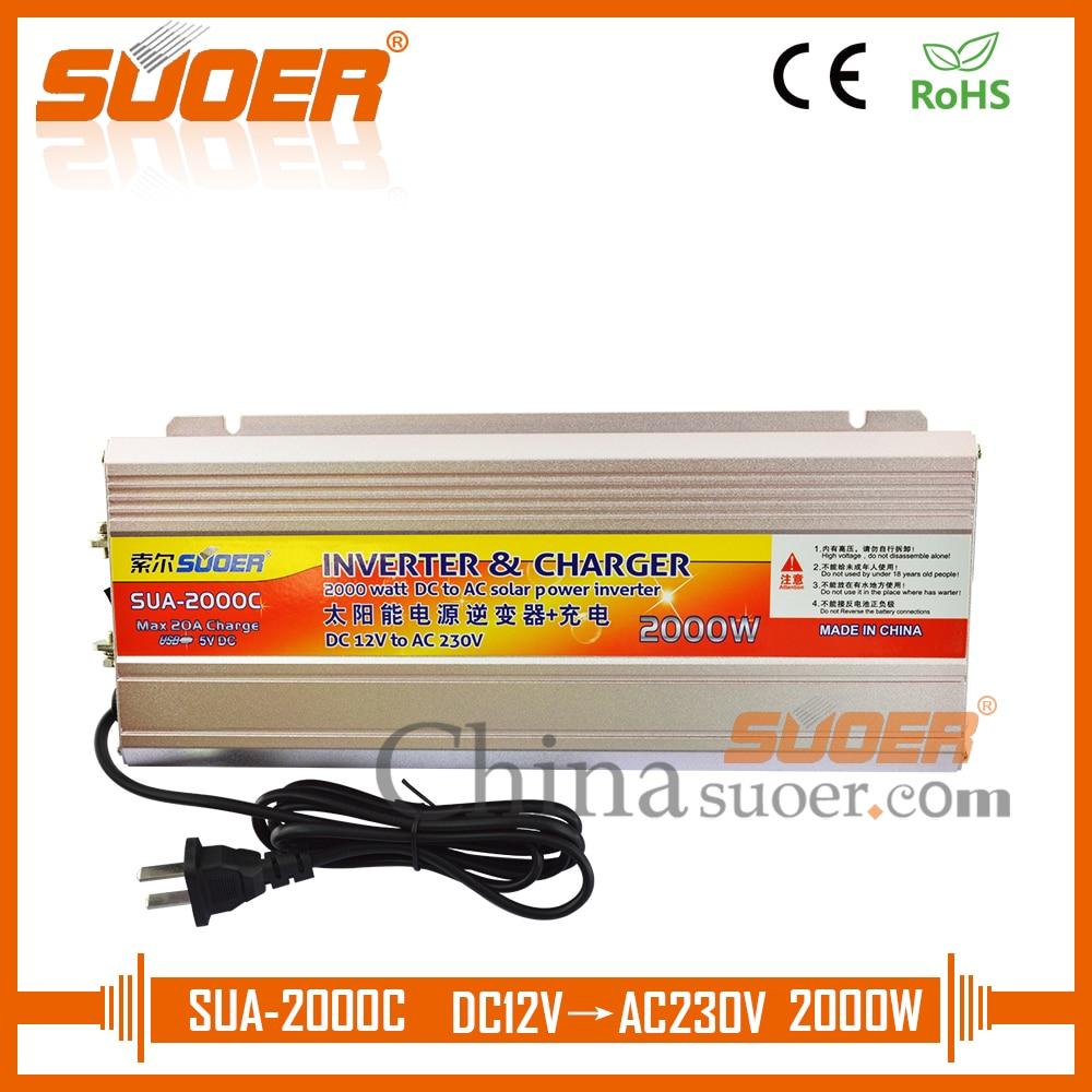 Suoer Modified Sine Wave 12 Volt 220 Volt 2000 Watt DC AC Solar Power Inverter With Battery Charger(SUA-2000C)Suoer Modified Sine Wave 12 Volt 220 Volt 2000 Watt DC AC Solar Power Inverter With Battery Charger(SUA-2000C)