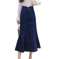 Long Denim Skirt Women 2019 High Waist Slim Sexy Maxi Mermaid Skirts For Female Lace up Plus Size Denim Skirt Women S 3XL D808