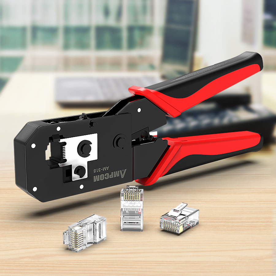 AMPCOM RJ45 Crimping Tool Ethernet Network LAN Cable Crimper Cutter Stripper Plier Modular 8P RJ45 and 6P RJ12 RJ11 in Networking Tools from Computer Office