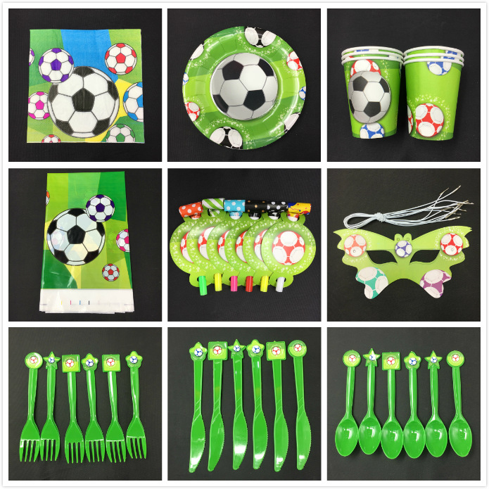 1pack football theme plate cup knife card mask napkin cap Plastic Gift Bag for Kids Birthday Party Decoration Supplies Favor