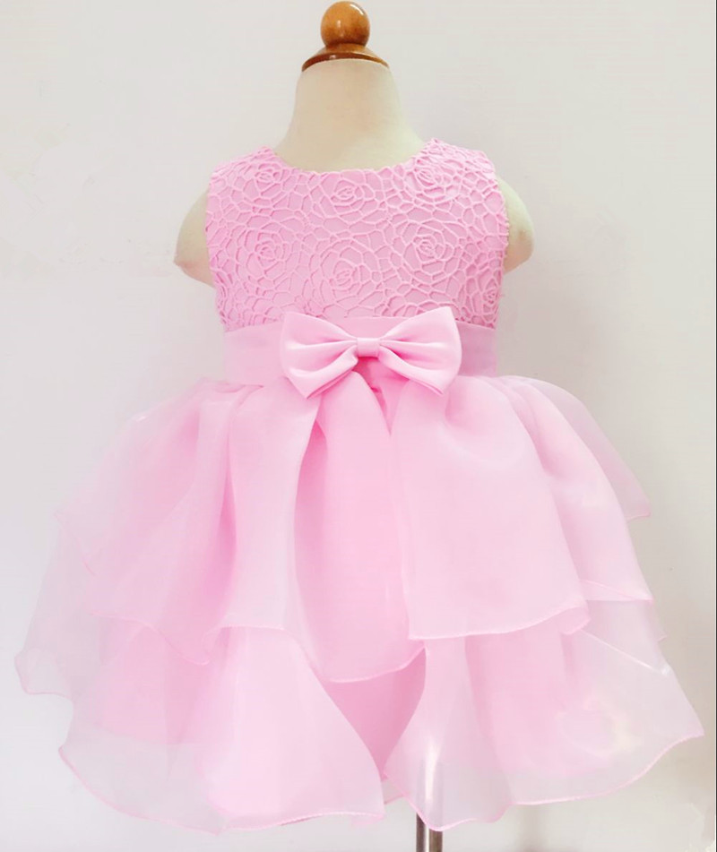 0-2Year Old Baby Girls Dress pink Princess Wedding Birthday Formal Vestido 2016 Toddler Baby Clothes Christening Gowns