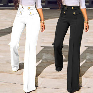 Celmia Slim Trousers Leg-Pants Buttons Spring Elegant Office Lady High-Waist Wide Femme