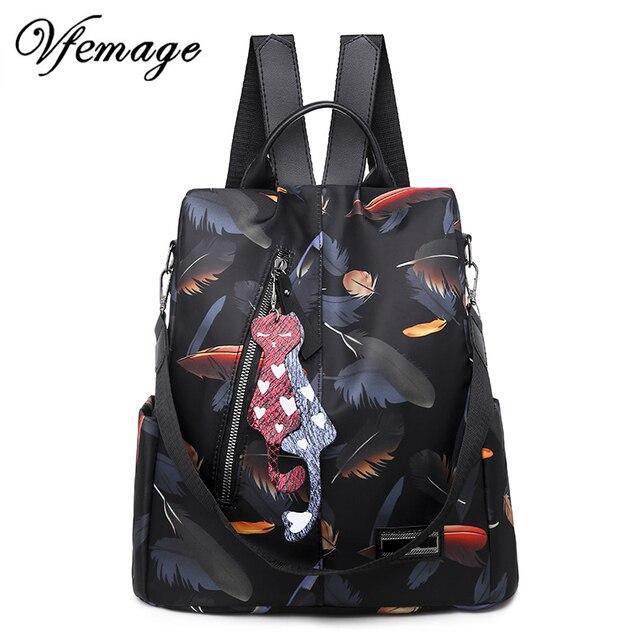 Vfemage New Fashion Backpacks 2019 Women Anti Theft Backpack Waterproof Oxford Female Small Bagpack Schoolbags for Girls Mochila