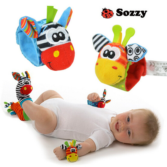 2pcs set Baby Rattles Soft Plush font b Toy b font Wrist Band Watch Band Bed