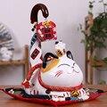 9 zoll Keramik Maneki Neko Ornament Glückliche Katze Geld Box Japanischen Lange Schwanz Glück Katze Feng Shui Dekoration Hochzeit Geschenk|Figuren & Miniaturen|Heim und Garten -