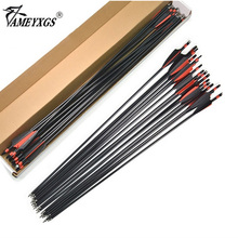 цена на 31.5inch Archery Fiberglass Arrow 100 Grain Arrowhead Steel Target Arrow Point Head Black and Red Vanes Feather For Recurve Bow