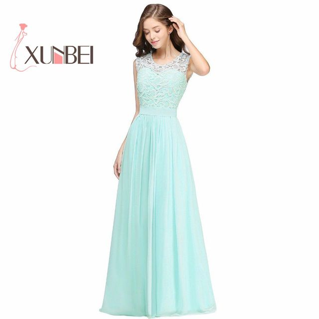 Elegant Long Country Style Lace Mint Green Bridesmaid Dresses 2017 Chiffon Prom Wedding Party Dress