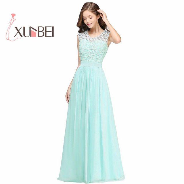 Kleid Im Landhausstil elegante lange landhausstil spitze mint green brautjungfernkleider