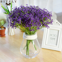 Elegant Artifical Babysbreath Flowers Wedding Party Home Decorative Plastic Gypsophila Bridal Bouquet Flower White Pink Purple