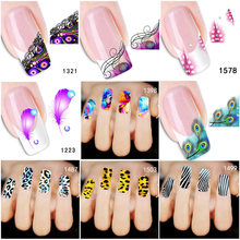 5Pc Animal Feather Nail Art Stickers Decals Water Transfer DIY Fingernail Manicure Decoration Flower Leopard Nail Sticker Tattoo(China)