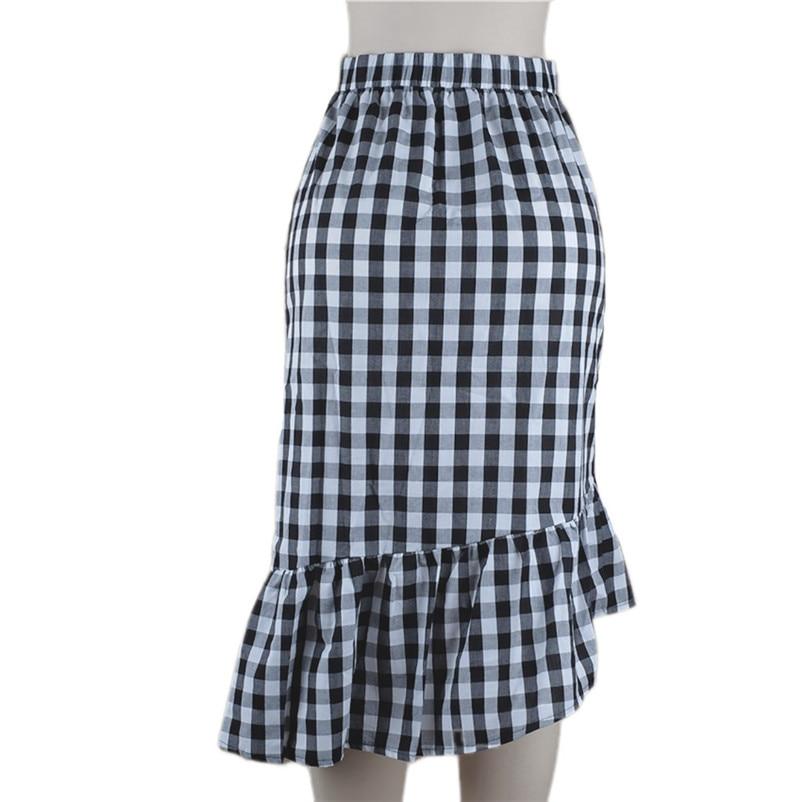 New Fashion 2018 Summer style skirts womens Plaid Casual Ruffled Button Party Slit High Waist Mid-Calf Skirt Femme Saia Y18#N (2)